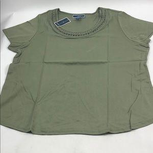 Karen Scott Woman Brand New Green 3X Shirt C92